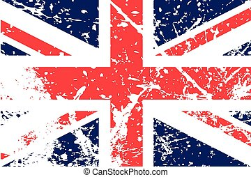 Illustration of a decayted flag of the United Kingdom - An...