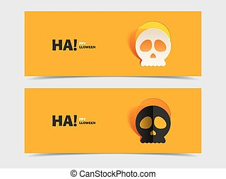 Set of two vector banners with carved skull. Skull with...