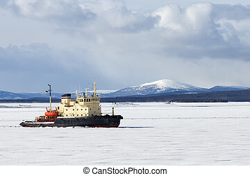 Icebreaker in the White Sea, Russia