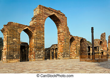 The Iron Pillar in the Qutb complex, Delhi, India