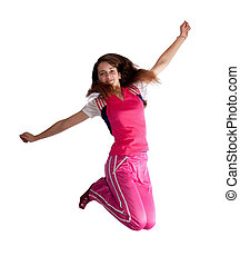 Jumping long-haired teen girl - Jumping pretty long haired...