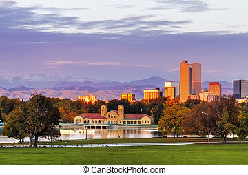 Denver Skyline in Fall from City Park - Denver Colorado...