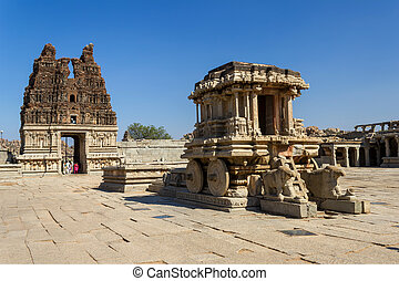 Stone Chariot in the Vittalla temple in Hampi, Karnataka,...