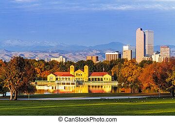 Denver Skyline in Fall from City Park - Denver Colorado...