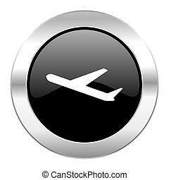 deparures black circle glossy chrome icon isolated