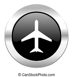 plane black circle glossy chrome icon isolated