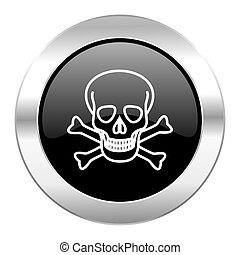 skull black circle glossy chrome icon isolated