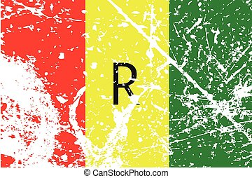 Illustration of a decayted flag of Rawanda - An Illustration...