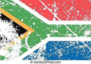Illustration of a decayted flag of South Africa - An...