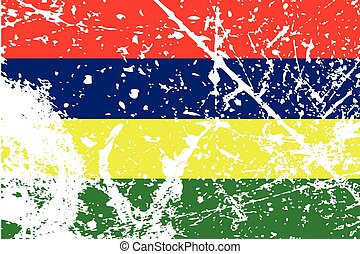 Illustration of a decayted flag of Mauritius - An...