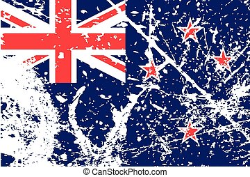 Illustration of a decayted flag of New Zealand - An...