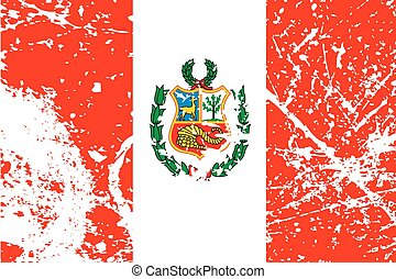 Illustration of a decayted flag of Peru - An Illustration of...
