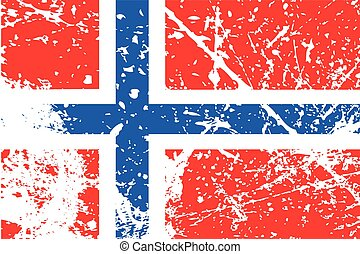Illustration of a decayted flag of Norway - An Illustration...