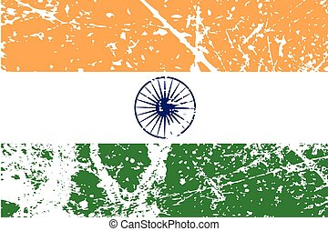 Illustration of a decayted flag of India