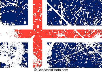 Illustration of a decayted flag of Iceland - An Illustration...