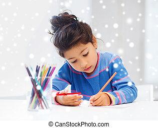 Crayons, peu, dessin,  girl, maison