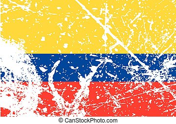Illustration of a decayted flag of Colombia - An...