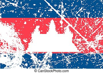 Illustration of a decayted flag of Cambodia - An...