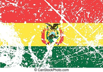 Illustration of a decayted flag of Bolivia - An Illustration...