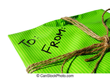 letter3 - personal letter in a green tied envelope isolated...
