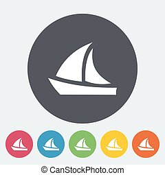 Yacht. Single flat icon on the circle. Vector illustration.