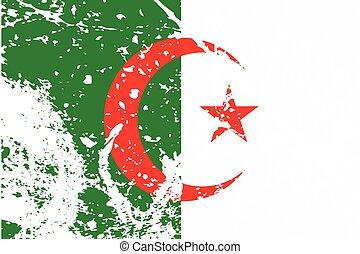 Illustration of a decayted flag of Algeria - An Illustration...