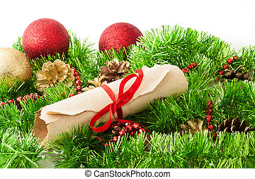 Christmas letter to Santa with christmas decorations on...