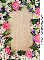 Summer Flower Border - Summer flower border over light oak...