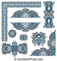 set of paisley floral design elements for page decoration,...