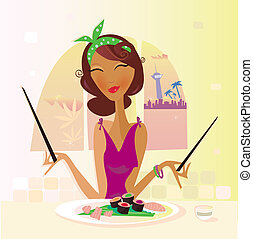 Exotic food – Sushi - Girl with sushi in attractive...