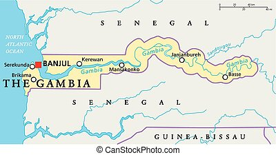 The Gambia Political Map with capital Banjul, national...