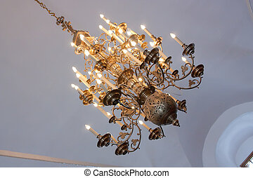Chandelier in russian orthodox temple at Suzdal