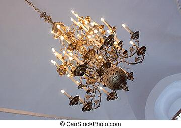 ruso, araña de luces, templo, ortodoxo