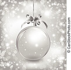 Empty snow-globe with silver bow. Vector