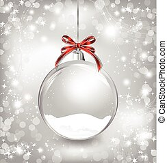 Empty snow-globe with red bow. Vector
