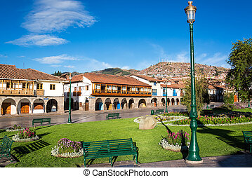 Plaza de Armas in Cuzco - View of the Plaza de Armas of...