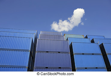 Blue containers waiting to be loaded