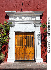 Colonial Architecture in Arequipa - Red and white colonial...