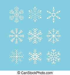 Snowflakes - Set of 9 snowflakes over blue background