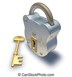 padlock and key - 3d render of padlock and key illustration