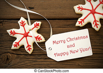 Merry Christmas and Happy New Year - Label with Merry...
