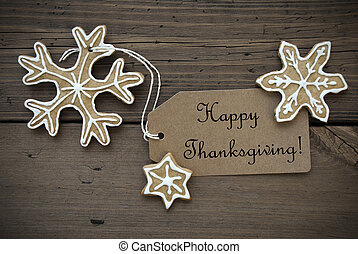 Happy Thanksgiving Label with Ginger Breads