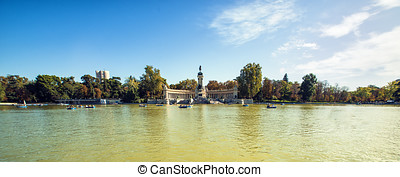 Panoramic of Monument to Alonso XII in Buen Retiro park,...