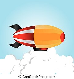Zeppelin design over cloudscape background, vector...