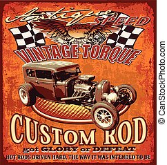vintage hot rod - hot rod vintage car vector for T-shirt...