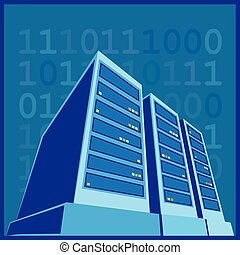 Data Center color - stylized illustration of a data center,...