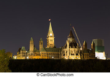 Parliament Hill in Ottawa at night with copy space