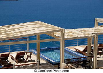 Swimming pool in Santorini, Greece