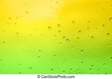 Drop water - abstract green and yellow color background with...