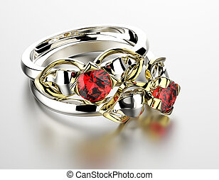 Wedding Ring with garnet Fashion Jewelry background